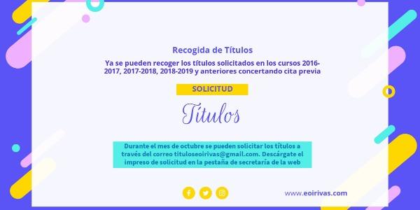 ÚLTIMO DÍA SOLICITUD DE TÍTULOS 26/11/2020